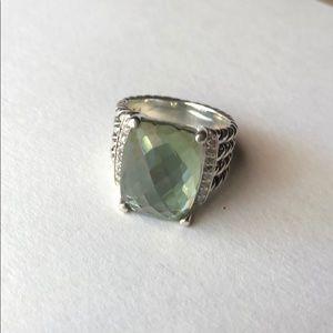 David Yurman Prasiolite + Diamond Wheaton Ring 5.5